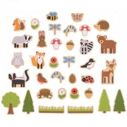 Magnetky na tabuli k učiacej veži - lesné zvieratká